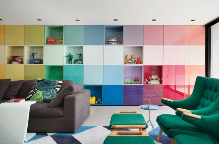 diseño mueble salon cubos colres