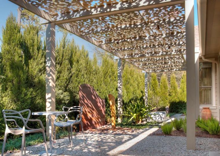 diseño terraza original pergola moderna