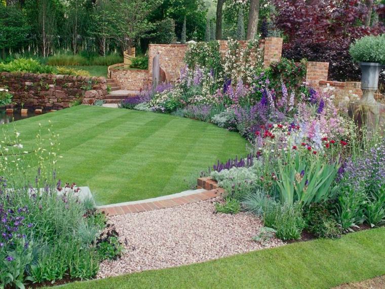 diseño moderno jardin césped