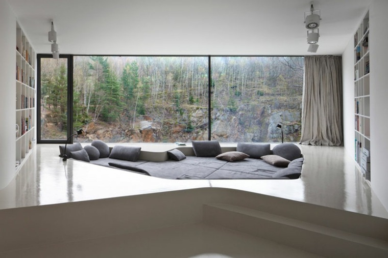 diseño sala estar asientos hundidos