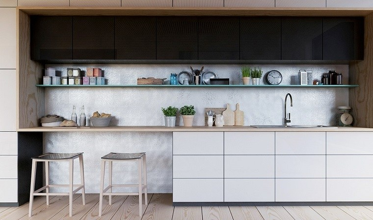 diseno simple cocina blanco negro madera ideas