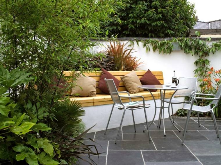 diseño terraza moderna banco obra