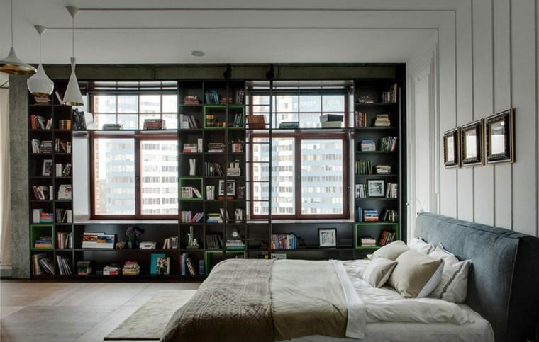 diseño dormitorio paredes biblotecas