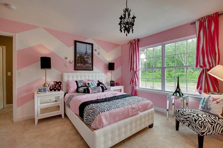 dormitorio moderno adolescentes blanco rosa diseno ideas