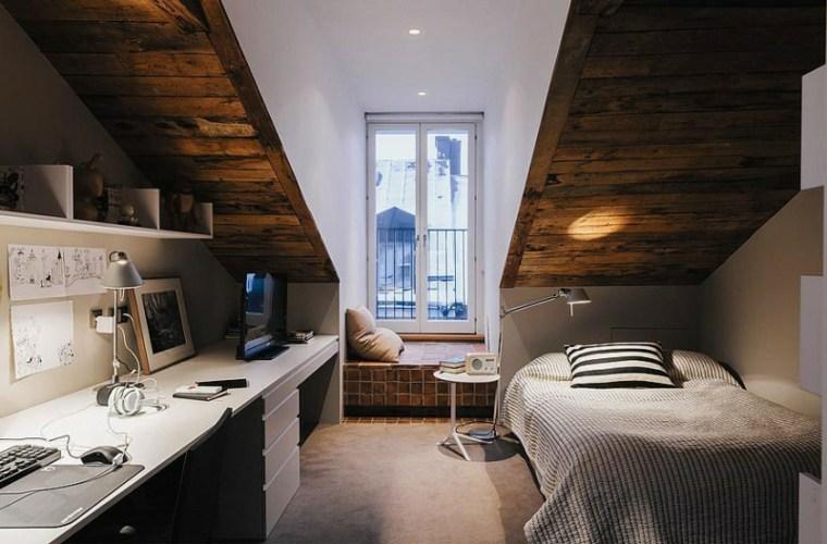 dormitorio techo abovedado madera diseno interiores ideas