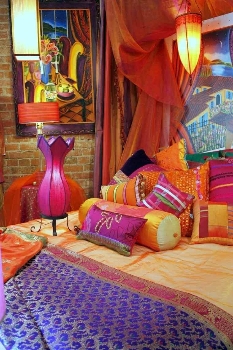dormitorio decorado impresionantes colores brillantes