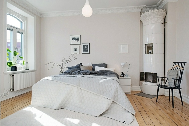 dormitorios encanto decoracion chimenea blanca ideas