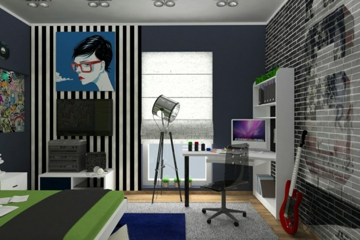dormitorios juveniles guitarras paredes rayas