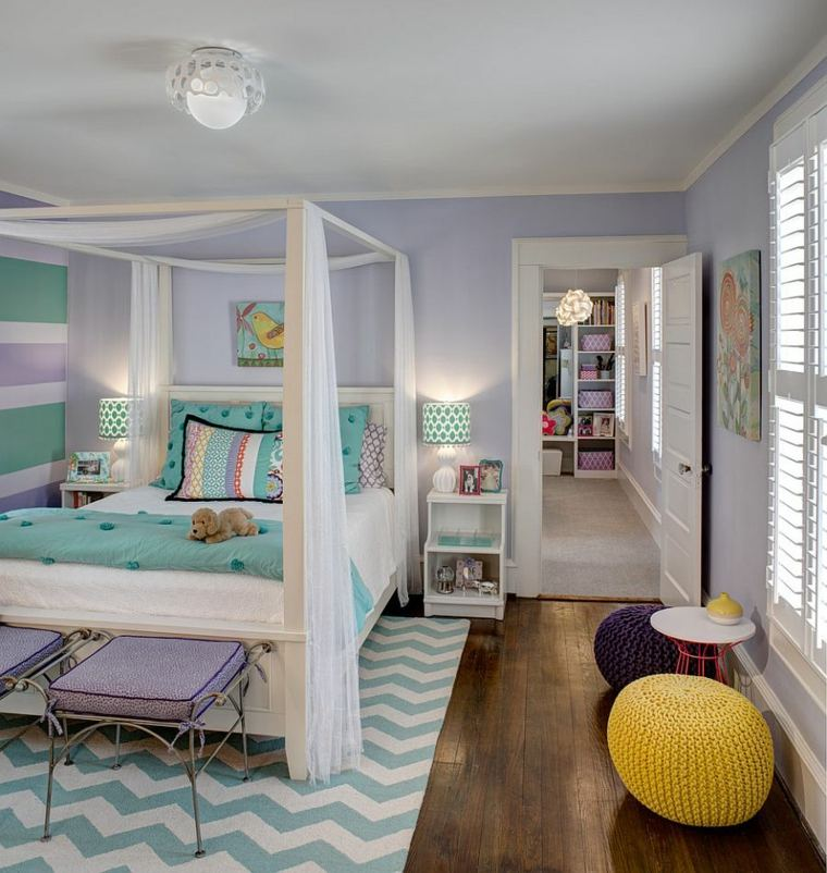 dormitorios juveniles modernos opciones decoracion cama dosel ideas