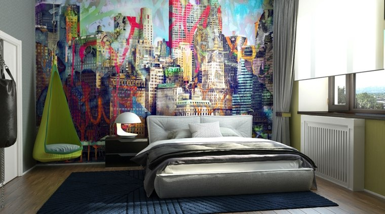 dormitorios juveniles modernos opciones decoracion muebles pared estampa ideas