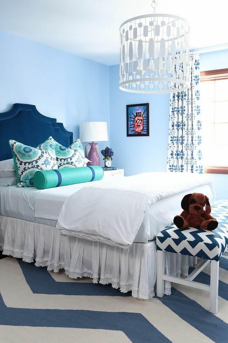 dormitorios juveniles opciones decoracion blanco azul ideas