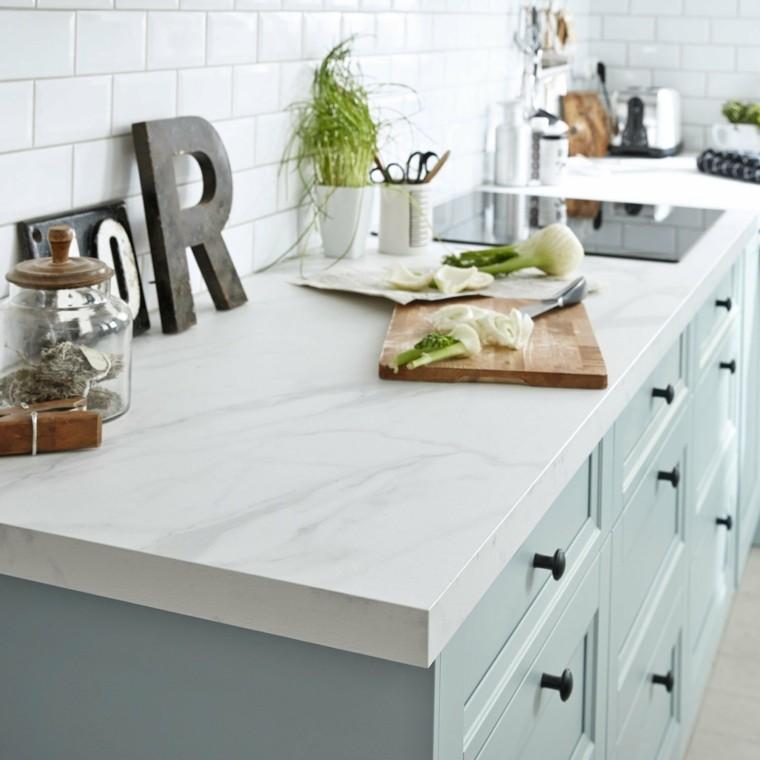 encimera cocina blanca acabado marmol