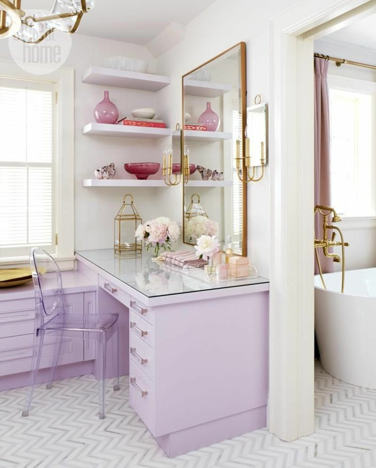 escritorio tocador color lila