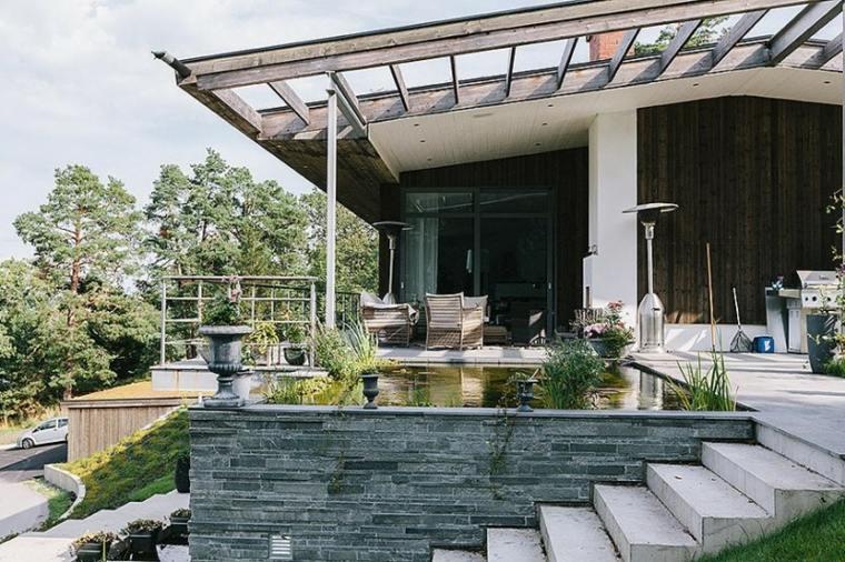 estanques jardin residencia moderna colina ideas