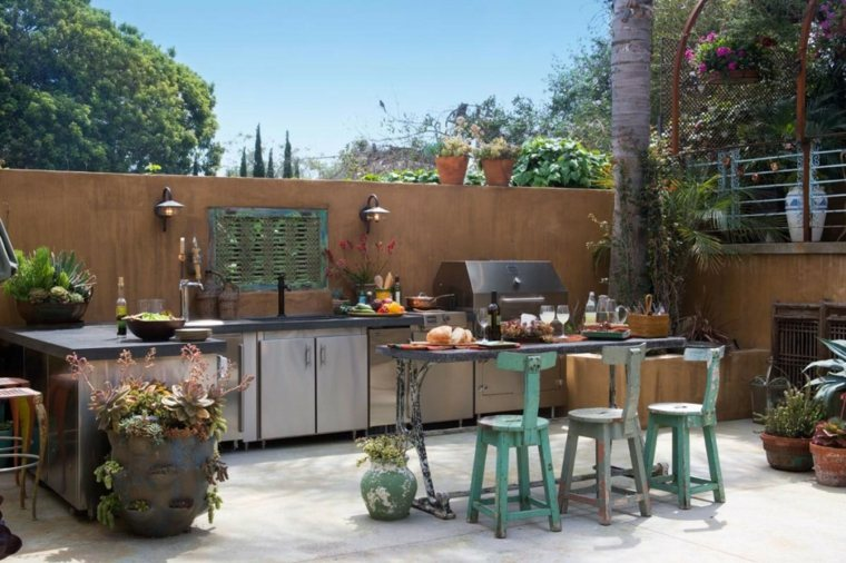 Barbacoas y muebles de cocina para el jard n 34 ideas for Mexican outdoor kitchen designs
