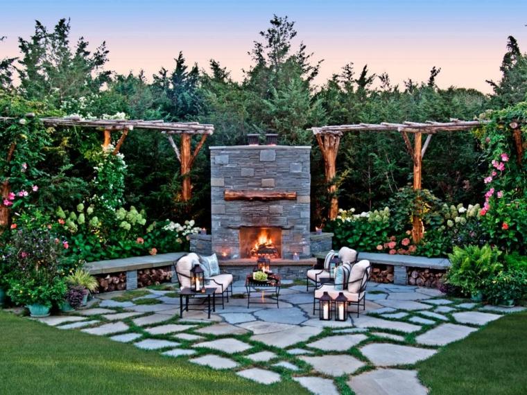 estupena glorieta jardin chimenea piedra