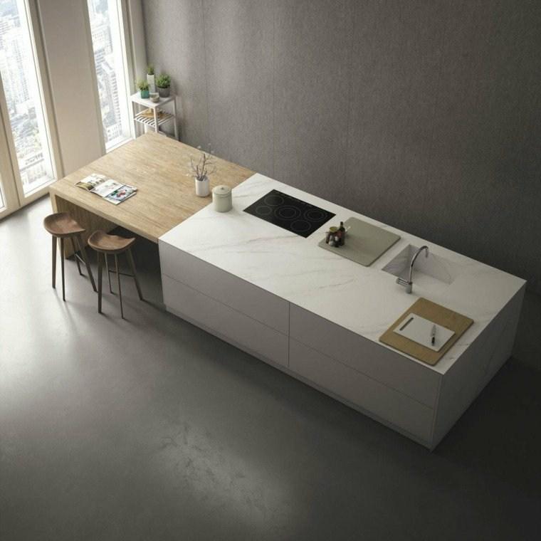 estupenda isla cocina marmol madera