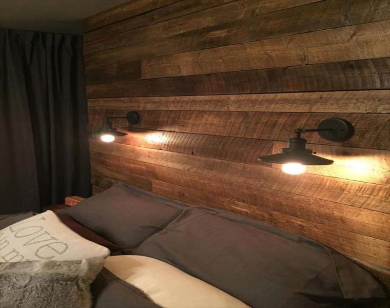 estupenda pared cabecero palet madera
