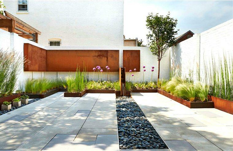 estupendo diseño jardin acero corten