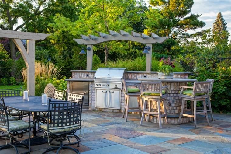 Barbacoas y muebles de cocina para el jardín   34 ideas