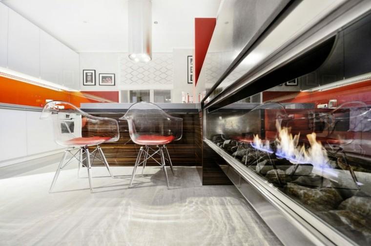 estupendo salón comedor chimenea