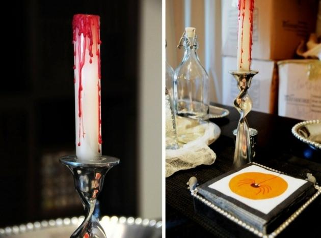 fiesta de halloween velas arañas mesas