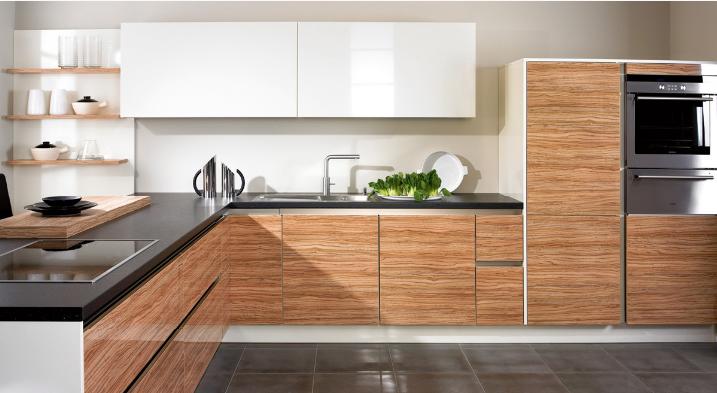 fotos de cocinas gabinetes madera encimera negra ideas