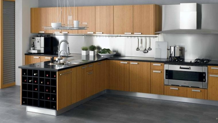 Fotos de cocinas con gabinetes negros y detalles en madera - Cocina encimera madera ...
