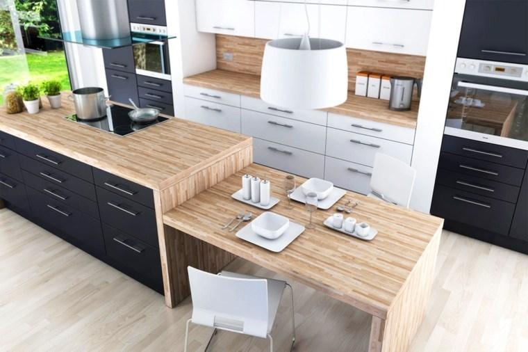fotos de cocinas gabinetes negro madera barra elegante ideas