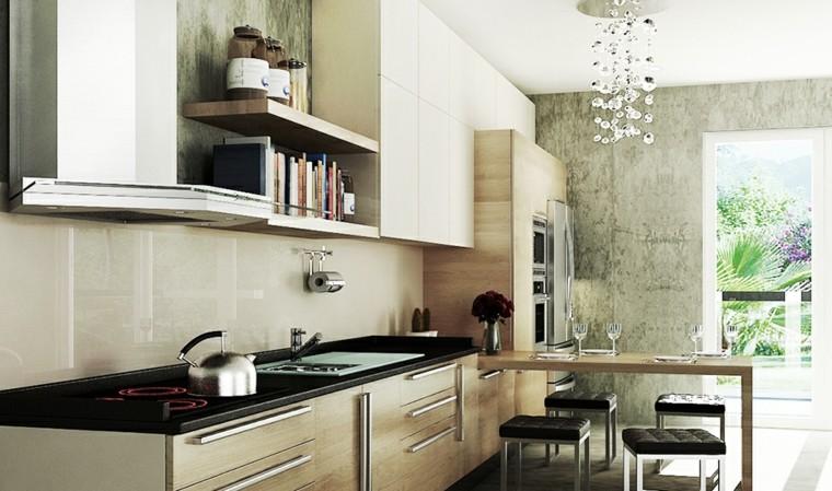 fotos de cocinas gabinetes negro madera barra taburetes ideas