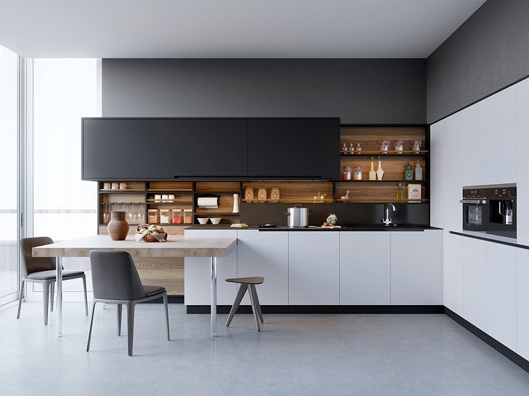 Fotos de cocinas con gabinetes negros y detalles en madera for Cocinas con gabinetes blancos