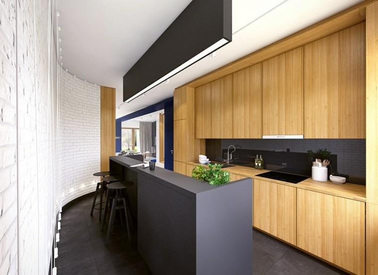 Fotos de cocinas con gabinetes negros y detalles en madera for Colores para gabinetes de cocina