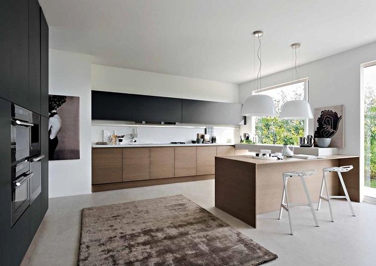 Fotos de cocinas con gabinetes negros y detalles en madera