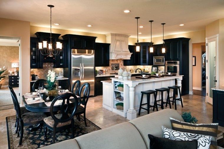 fotos de cocinas gabinetes negro madera decoracion moderna ideas