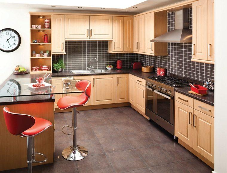 fotos cocinas gabinetes negro madera diseno contemporaneo ideas