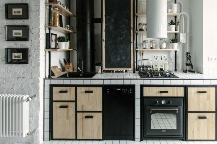 fotos de cocinas gabinetes negro madera diseno impresionante ideas
