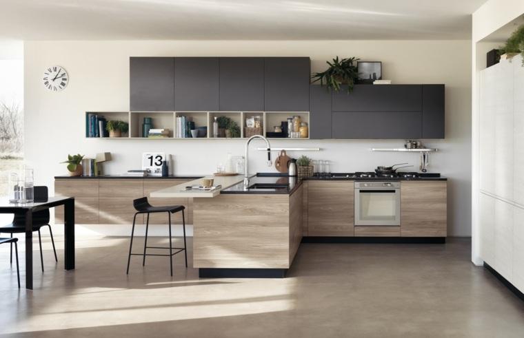 fotos de cocinas gabinetes negro madera forma T ideas