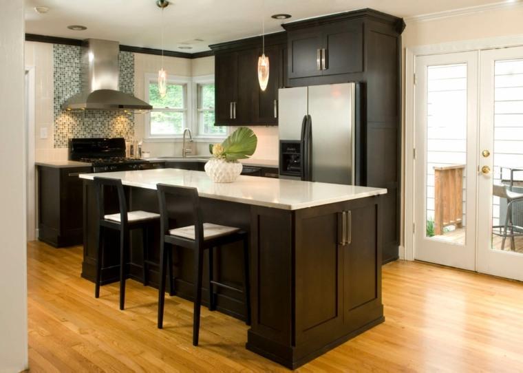 fotos de cocinas gabinetes negro madera isla diseno ideas
