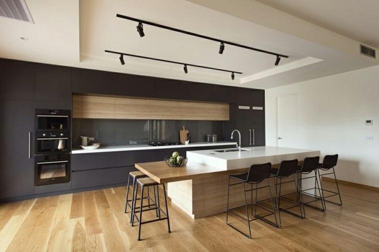 fotos de cocinas gabinetes negro madera isla grande ideas