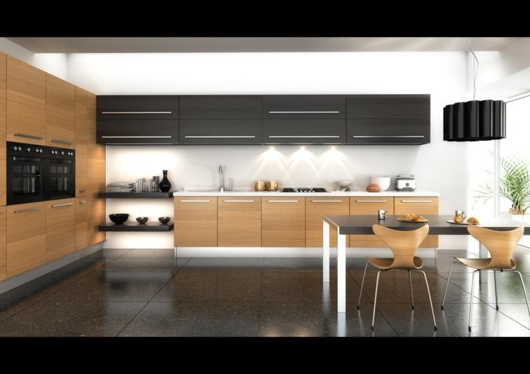 fotos de cocinas gabinetes negro madera mesa comedor ideas