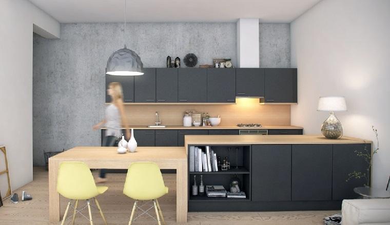 fotos de cocinas gabinetes negro madera sillas amarillas ideas