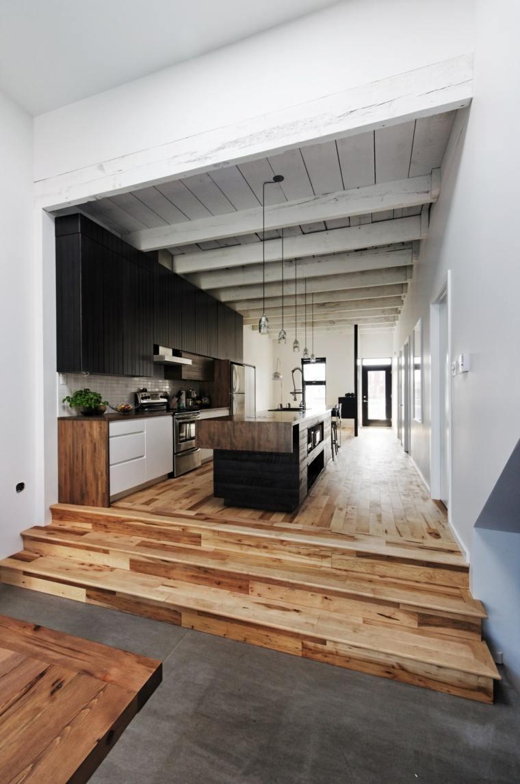 fotos de cocinas gabinetes negro madera suelo atractivo ideas