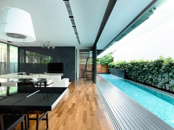 fotos de piscinas efectos alargadas maderas