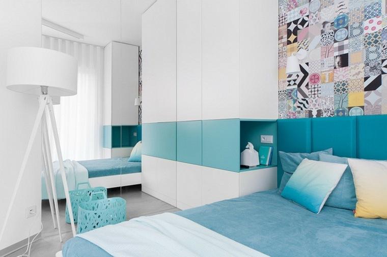 habitacion doble juvenil color turquesa