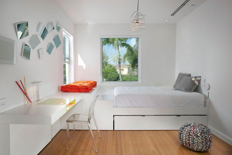 habitaciones camas madera gris naranja