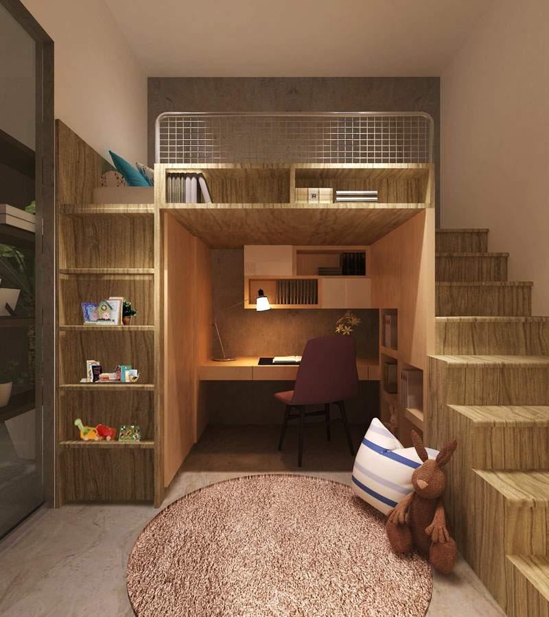 habitaciones escalones materiales fuentes estantes