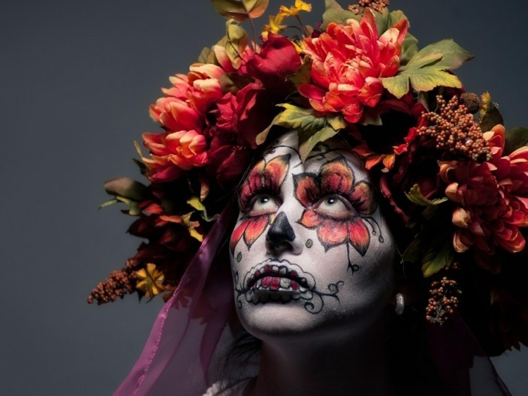 halloween maquillaje flores complemento efectos