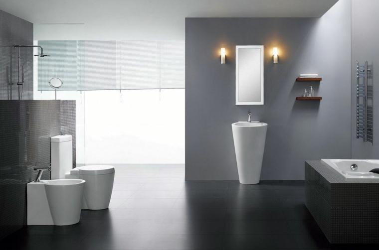 Ideas Para Decorar Un Baño Gris:Baños originales en negro y en gris -