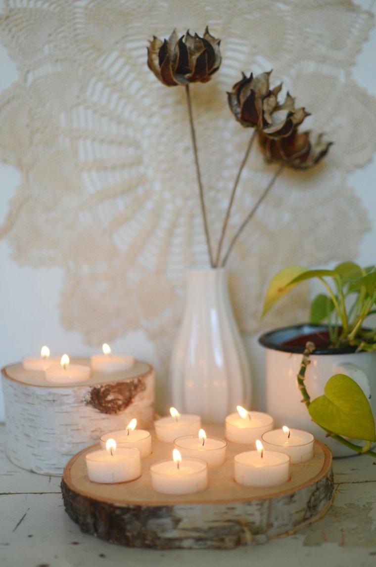ideas para decorar casa otono madera velas original