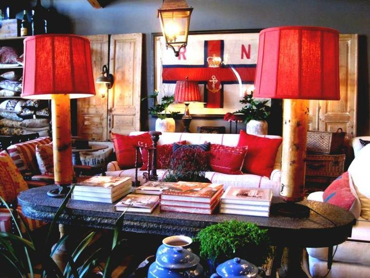 interior diseño boho color rojo